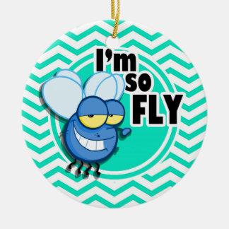 Funny Fly; Aqua Green Chevron Ornaments