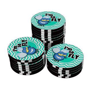 Funny Fly; Aqua Green Chevron Poker Chip Set