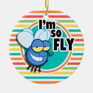 Funny Fly; Bright Rainbow Stripes Christmas Tree Ornaments
