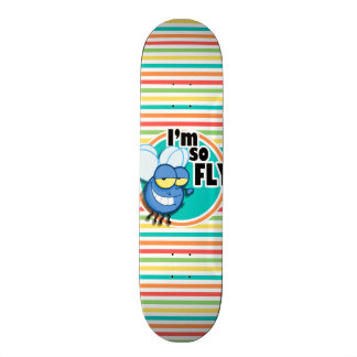 Funny Fly; Bright Rainbow Stripes Skate Board Deck