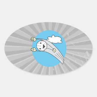 funny flying high golfball cartoon oval sticker