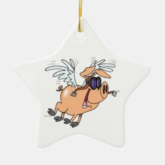 funny flying pig flyer cartoon christmas ornament