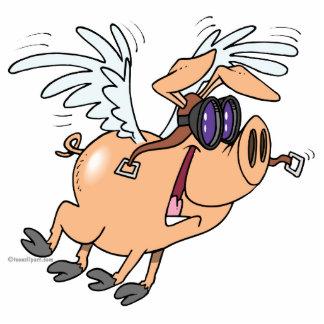 funny flying pig flyer cartoon photo sculpture key ring