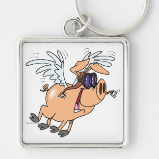 funny flying pig flyer cartoon Silver-Colored square key ring