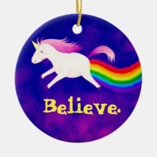 Funny Flying Unicorn Farting a Rainbow Christmas Ornament