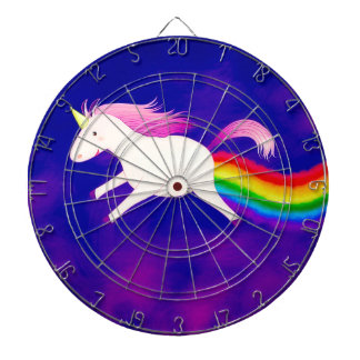 Funny Flying Unicorn Farting a Rainbow Dartboard