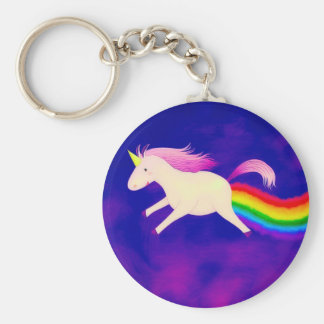 Funny Flying Unicorn Farting a Rainbow Key Ring