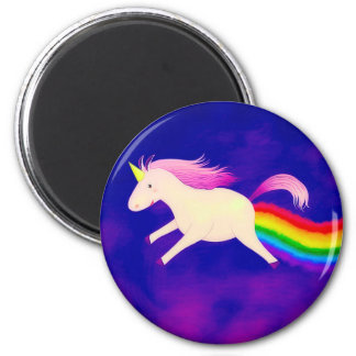 Funny Flying Unicorn Farting a Rainbow Magnet