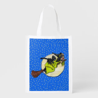 Funny Flying Witch Black Cat Moon Stars Halloween Reusable Grocery Bag