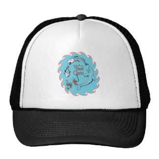 funny food chain vector graphic cap
