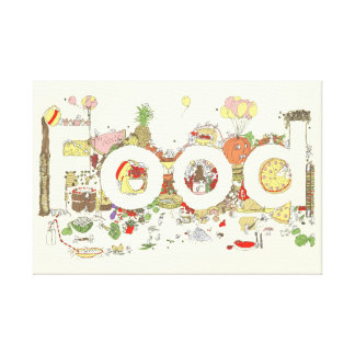 Funny Food Word Design Colourful Watercolour Art Canvas Print