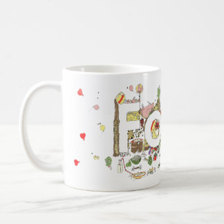 Funny Food Word Design Colourful Watercolour Art Coffee Mug