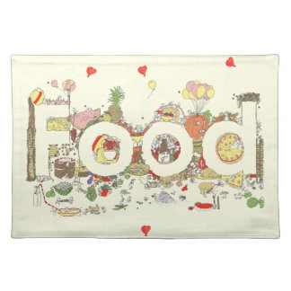 Funny Food Word Design Colourful Watercolour Art Placemat