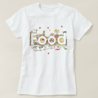 Funny Food Word Design Colourful Watercolour Art T-Shirt
