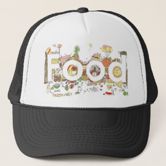 Funny Food Word Design Colourful Watercolour Art Trucker Hat