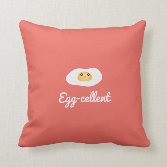 Funny Foodie Cute Egg Eggcellent Humourous Food Cushion