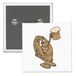 funny football cartoon holding a beer mug 15 cm square badge