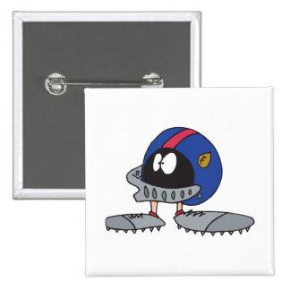 funny football helmet cartoon character 15 cm square badge