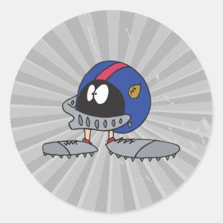 funny football helmet cartoon character round sticker