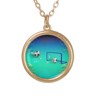 Funny footballs round pendant necklace