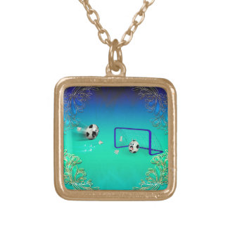 Funny footballs square pendant necklace