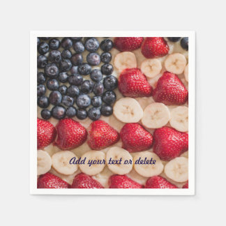 Funny Fourth of July American USA Flag Faux Fruit Paper Serviettes