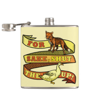 Funny Fox Duck Animal Pun Hip Flask