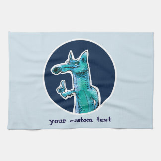 funny fox gives advice to us cartoon tea towel