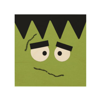 Funny Frankenstein Face for Halloween Wood Wall Art