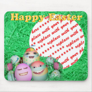 Funny Freaky Easter Egg Family Photo Frame Mouse Pads