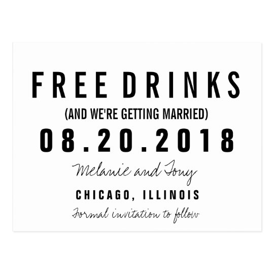 Funny Free Drinks Wedding Save the Dates Custom