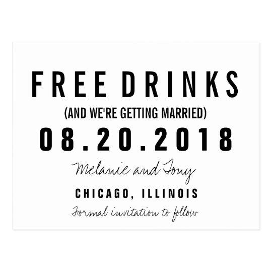Funny Free Drinks Wedding Save the Dates Custom