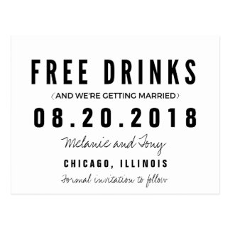 Funny Free Drinks Wedding Save the Dates Postcard