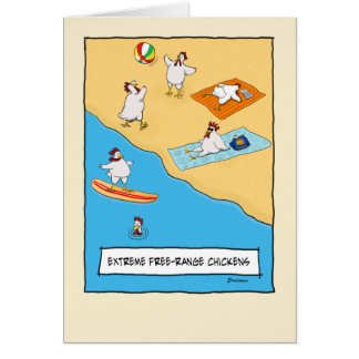 Funny Free-range Chickens Birthday Card