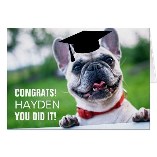 Funny French Bulldog Dog Photo Graduation Card