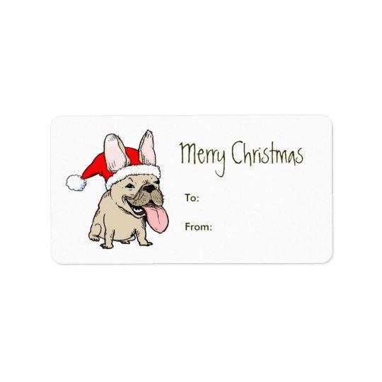 Funny French Bulldog Santa Clause Christmas Label