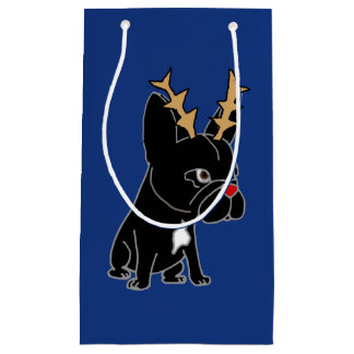 Funny French Bulldog with Antlers Christmas Small Gift Bag