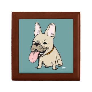 Funny French Bulldog with Huge Tongue Sticking Out Gift Box