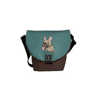 Funny French Bulldog with Huge Tongue Sticking Out Messenger Bag