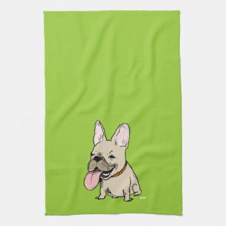 Funny French Bulldog with Huge Tongue Sticking Out Tea Towel