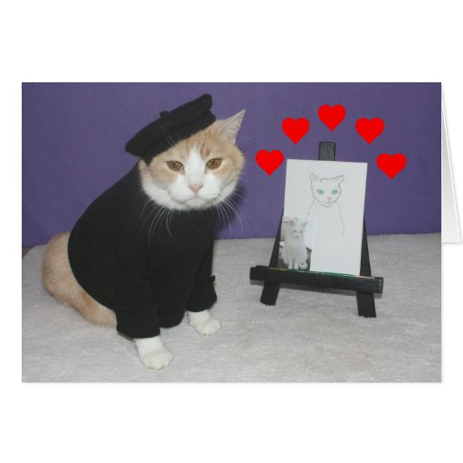 Funny French Cat Valentine Greeting Cards