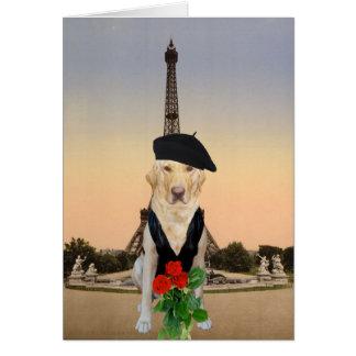Funny French Dog/Lab Valentine Greeting Card
