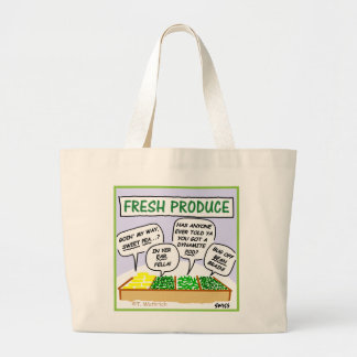 Funny Fresh Produce Cartoon Jumbo Grocery Tote Jumbo Tote Bag