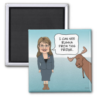 Funny fridge magnet: Sarah Palin Sees Russia Square Magnet