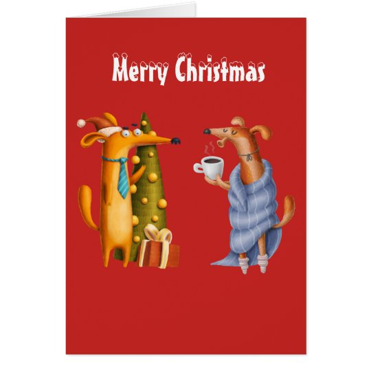 Funny Friend Christmas Card Holiday Dachshund Dogs