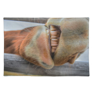 Funny Friendly Horse Muzzle and Teeth Cloth Place Mat
