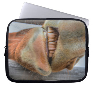 Funny Friendly Horse Muzzle and Teeth Laptop Sleeve
