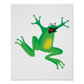 funny frightened frog print