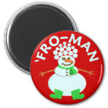 Funny 'Fro Snowman Christmas Pun Refrigerator Magnets