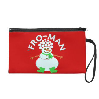 Funny 'Fro Snowman Christmas Pun Wristlet Clutches